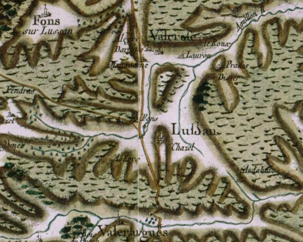 Lussan au centre sur la carte de Cassini. Réalisée vers 1780.